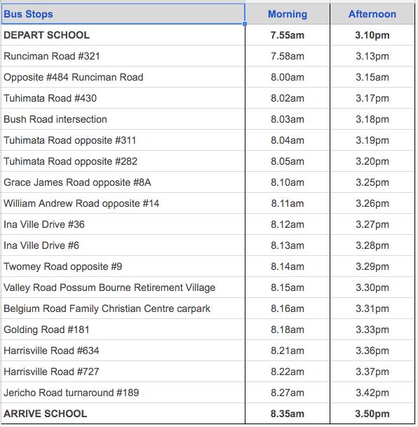 Pukekohe East School Timetable 2016